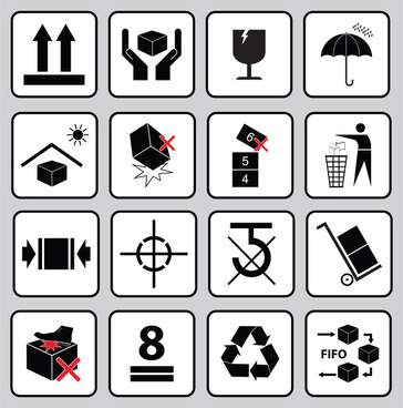set of packaging symbols this side up handle with care fragile keep dry keep away from direct sunlight do not drop do not litter use only the trolley use fifo system max carton recyclable
