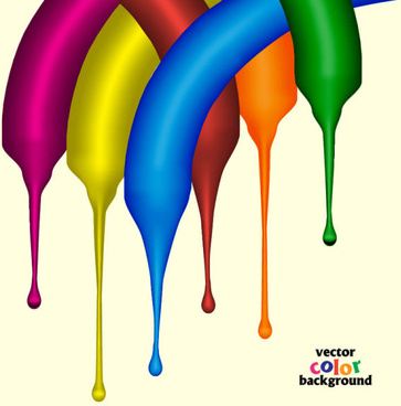 set of paint color drops vector background art