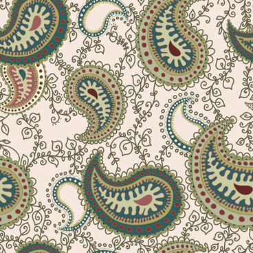 set of paisley pattern seamless vector