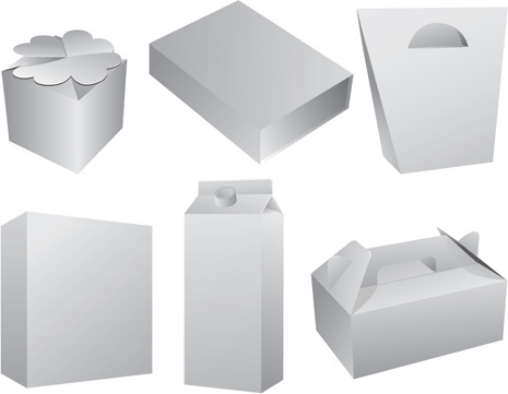 set of paper packaging box design vector
