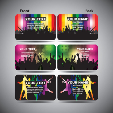 set of party cards elements vector