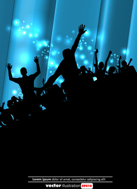 set of people at a party silhouettes vector