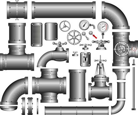 set of pipeline parts vector