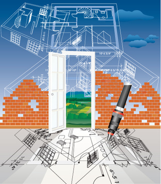 set of plans and construction project design vector