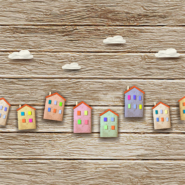 set of puzzle house vector background