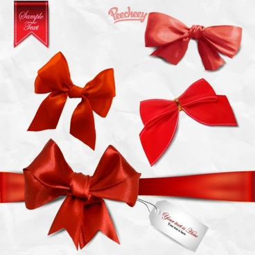 set of red bows