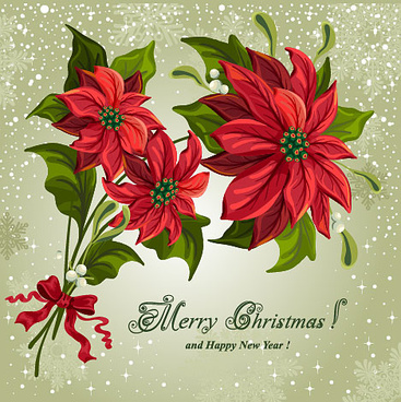 set of red flower with christmas vector