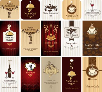 set of restaurant8 cafe cards vectot
