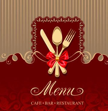 set of restaurant menu cover background vector
