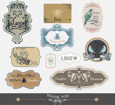 set of retro and vintage label vector graphics