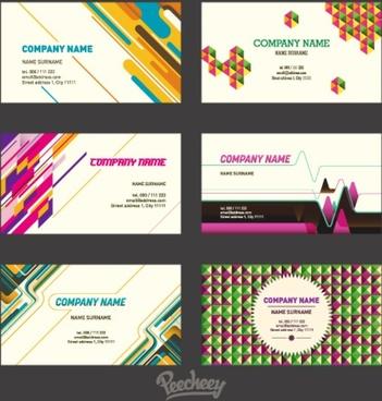 set of retro business cards