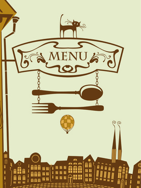 set of retro cover menu cafe and restaurant vector