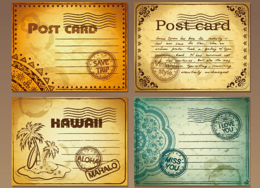 set of retro post card design vector graphic