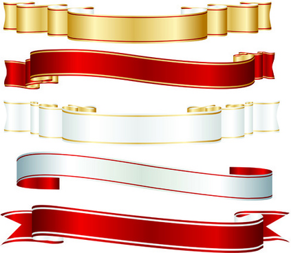 set of ribbons and scrolls design elements vector