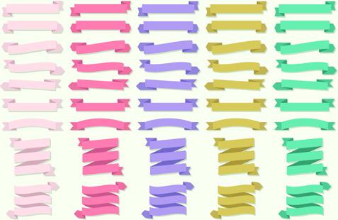 set of ribbons banner vintege vectors