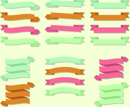 set of ribbons banner vintege vectors