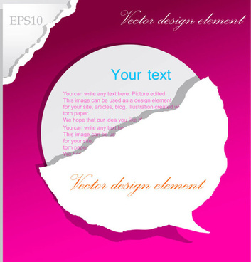 set of ripped paper dialogue labels vector