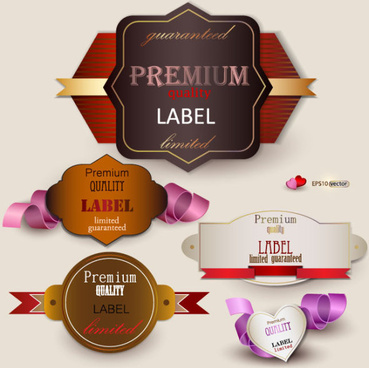 set of romantic and love labels vector