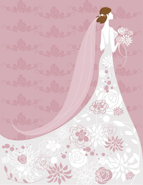 set of romantic wedding vector background