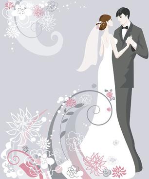 set of romantic wedding vector background