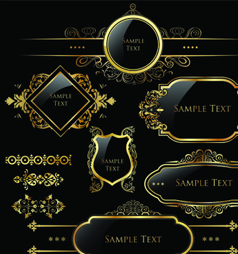 set of royal gold banner and luxury label vector