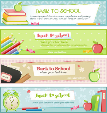 set of school elements banners vector