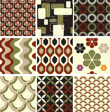 set of seamless pattern free vector