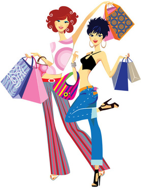 set of shopping girl design vector