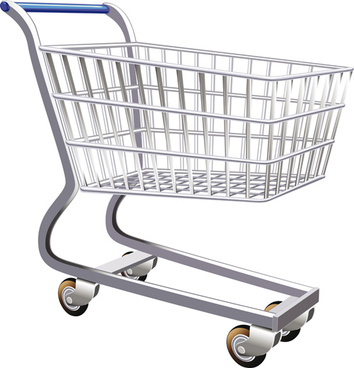 set of shopping trolley elements vector graphic