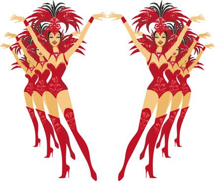 set of show girl design elements vector