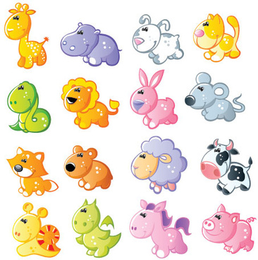 set of sixteen cute cartoon animal vector