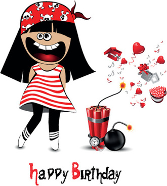 set of smile postcard happy birthday design vector
