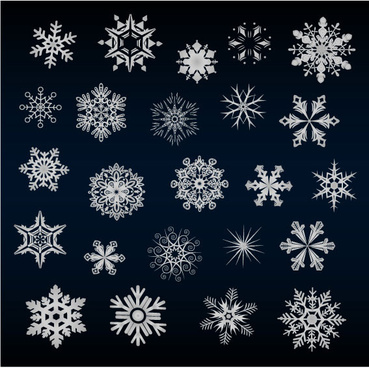 set of snowflake backgrounds for christmas vector