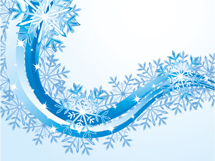 set of snowflake with waves backgrounds art vector
