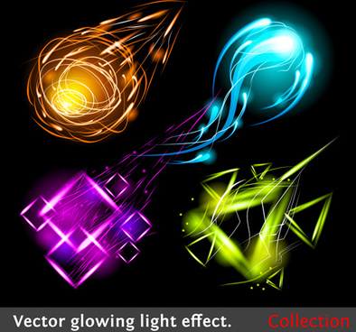 set of sparkling light effects vector