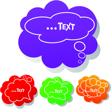 set of speech bubbles cloud labels vector