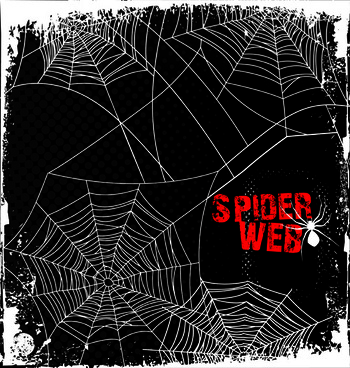 set of spider web vector background