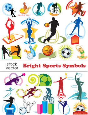set of sports symbols vector