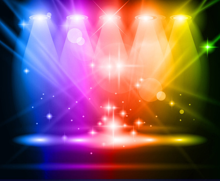set of stage with spotlights elements vector