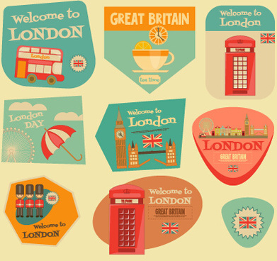 set of stickers vintage design vectors