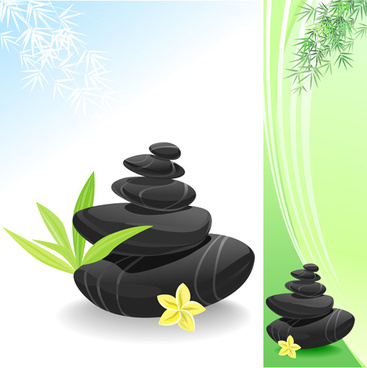 set of still life with stones design vector graphics