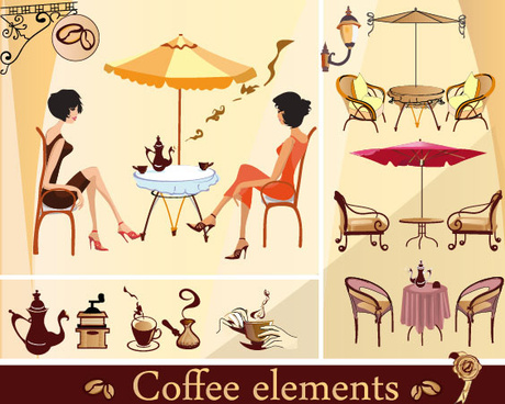set of street cafe vector