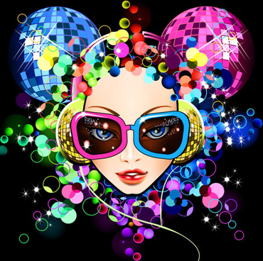 set of stylish cartoon girl design vector graphic