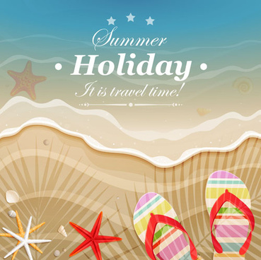 set of summer holidays elements vector background