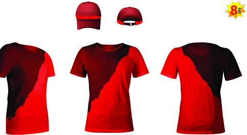 set of t shirts and baseball caps elements vector