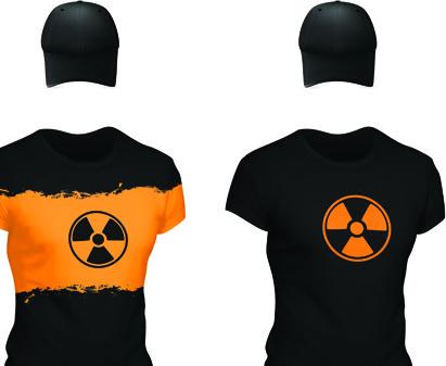 set of t shirts and baseball caps elements vector