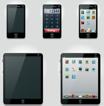 set of tablet pc and phone design vector