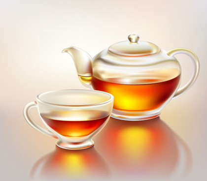 set of teapot and tea cup vector