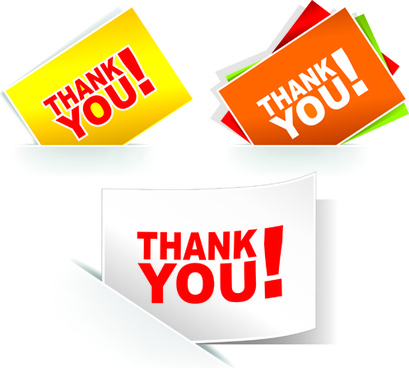 set of thanks you sticker design vector