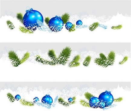 Set of three Christmas borders with blue baubles and branches